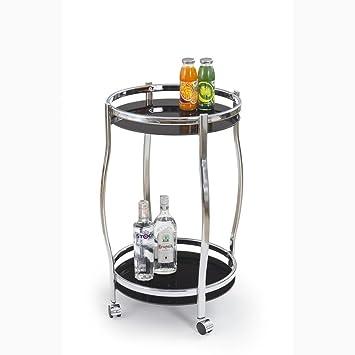 JUSTyou Mesa con Ruedas para Servir Carrito de Server Carro de Cocina Bar-8 DE Cristal/Acero Negro Tamaño 42/71 cm: Amazon.es: Hogar