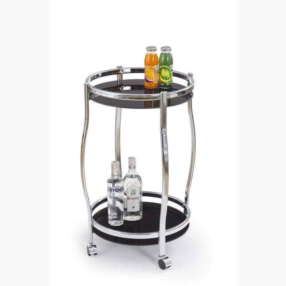 JUSTyou Bar-8 Bartisch Küchenbar Barwagen aus Glas Stahl Schwarz (DxH)  42x71 cm