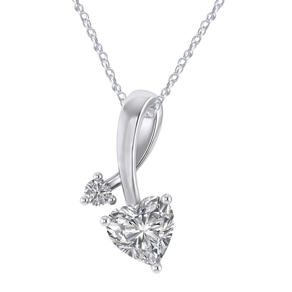925 Sterling Silver Cubic Zirconia Love Heart Bridal Pendant Necklace Screw Back Stud Earrings Set by Pretty Jewels (Image #2)