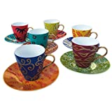 Caroline Hely Hutchinson for CHH Design Set Of Tea Or Coffee Cups And Saucers Painted In 'Carnival' Design