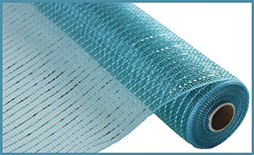(Wide Foil Deco Poly Mesh Ribbon, 10 Inches x 30 Feet (Teal, Turquoise Foil))