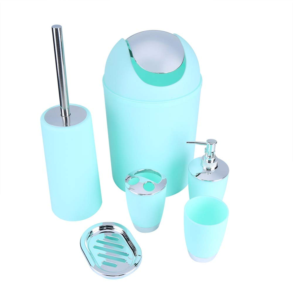 Oscenlife 6 in 1 Bathroom Toothbrush Holder Hand Sanitizer Bottle Soup Holder Toilet Brush Waste Bins Bathroom Accessories Set 6 Colors