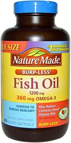 Nature Made Burp-Less Fish Oil 1200mg, 360mg Omega-3, Liquid Softgels 200 ea (Pack of 2)