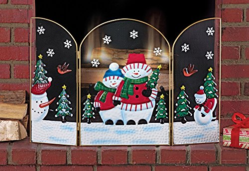 Snowman Christmas Fireplace Screen Multi