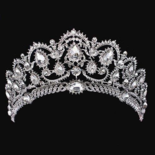 (Crystal Diamond Bride Bridal Wedding Hair Head Band Wear Pearl Rhinestone Jewelry Headdress Headband Tiara Coronal Big)