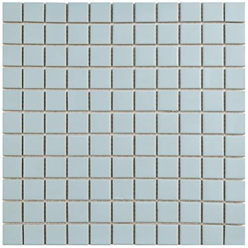 """FXLMS1BL Retro Square Porcelain Floor and Wall Tile, 11.75"""" x 11.75"""", Matte Light Blue"""