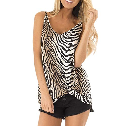 Sunday88 Womens Sleeveless T-Shirt Ladies Summer O-Neck Zebra Print Loose Casual Tank Tees Blouse Tops Brown