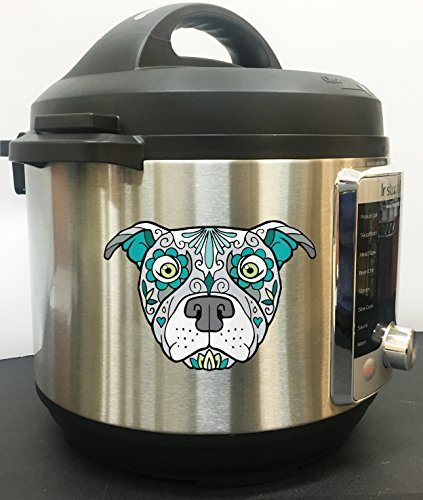 Pitbull Pitty Sugar Skull Tattoo Breed Dog Full Color Vinyl Decal For Instant Pot