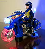 WolVol Electric Police Toy Motorcycle with Lights and Sirens, Sound Effects and Talking, Goes around and Changes Directions on Contact