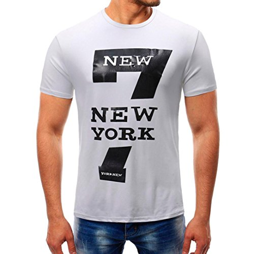 (iYYVV Fashion Men's T Shirt Personality Summer Pure Color Zipper Sleeve Print)
