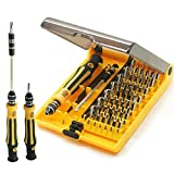 JACKLY 45 in 1 Professional Portable Opening Tool Compact Screwdriver Kit Set with Tweezers & Extension Shaft for Precise Repair or Maintenance JK6089-A