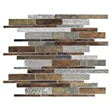 ICJ 76027 Slate copper Pencil 15.25 In. x 12 In. x 8Mm Slate/Quartz/copper Mosaic Wall Tile Natural Surface, Browns
