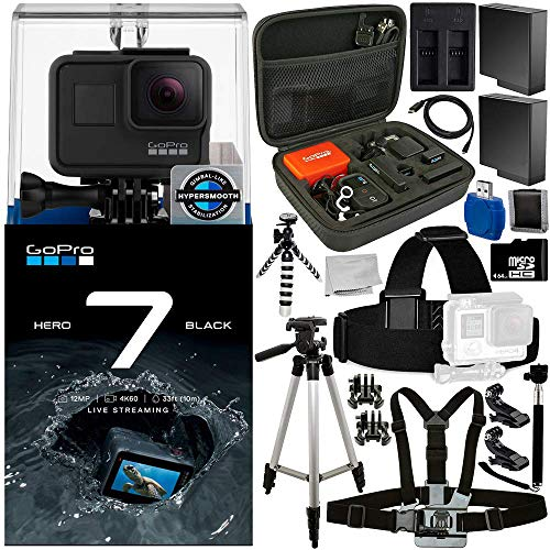 GoPro HERO7 Hero 7 Black 20PC Accessory Bundle – Includes 64GB microSD Memory Card + High Speed Memory Card Reader + Memory Card Wallet + 2X Replacement Batteries + More For Sale