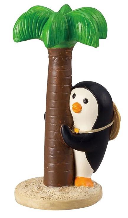 Figura pingüino negro crema con palmera de Japón: Amazon.es ...