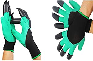 Garden Genie Gloves with Claws (2 Pairs), Gardening Gloves Claw Easy to Digging and Garden Glove Planting, Raking Safe