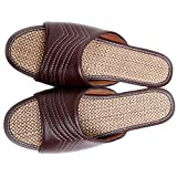 Slip-on Slippers Happy Lily Non-slip Open Toe Sandal Unisex Couples Organic Linen Mules Moisture Wicking Cool Flax Indoor or Outdoor Shoes, Men's Size