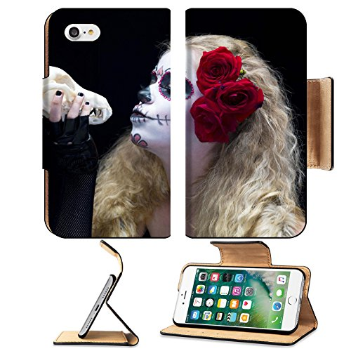 [Liili Premium Apple iPhone 7 Flip Pu Leather Wallet Case IMAGE ID: 16976392 Close up shot of a female wearing traditional sugar skull make up and holding animal skull against ark] (Costume Ideas For Day Of The Dead)