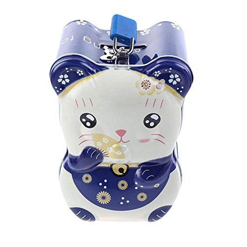 ZYN Piggy Bank, Creative Little Blessing Cats Coin Bank Box, Tinplate Ornaments for Children, ()