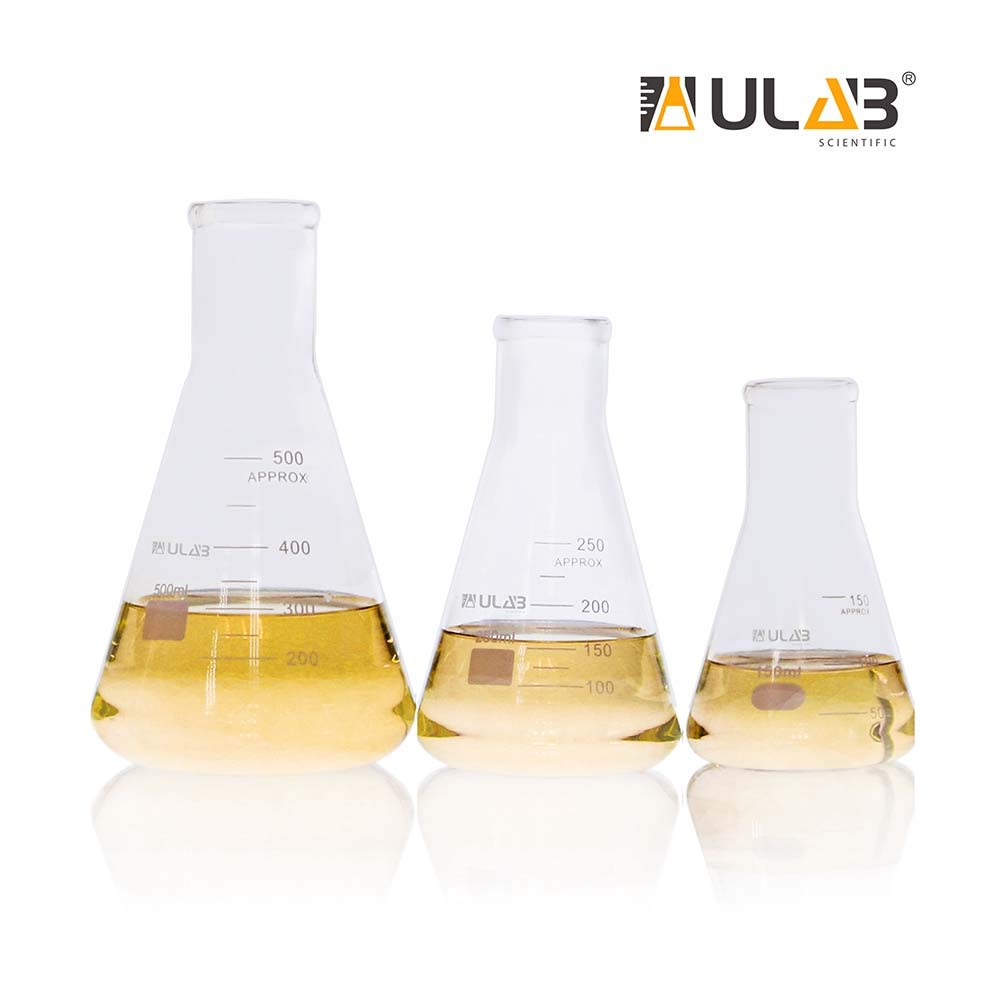 ULAB Scientific Narrow-Mouth Glass Erlenmeyer Flask Set, 3 Sizes 150ml 250ml 500ml, 3.3 Borosilicate with Printed Graduation, UEF1028 by ULAB