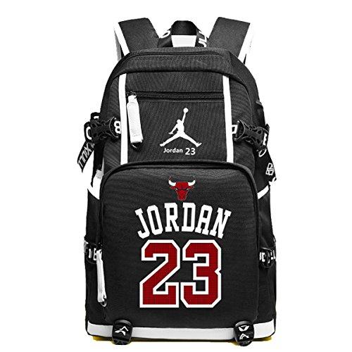 YOURNELO NBA Rucksack School Backpack Bookbag for Boys Girls (C Jordan Black)