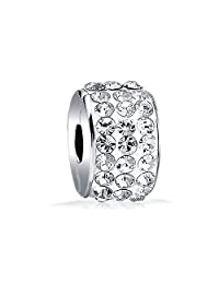Bling Jewelry 925 Sterling Silver Crystal Stopper Clasp Bead Fits Pandora