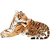BRUBAKER Brown Plush Tiger with Baby 40 Inch Soft Toy Stuffed Animal