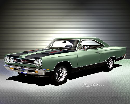 Plymouth Pictures Gtx (1969 PLYMOUTH GTX Mist green - ART PRINT POSTER BY ARTIST DANNY WHITFIELD- SIZE 16 X 20)