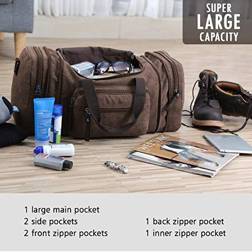 Toupons Canvas Travel Duffel Bag Men s Weekender Overnight Bag (Coffee) c82fd888bf385