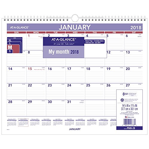 "AT-A-GLANCE Monthly Wall Calendar, January 2018 - December 2018, 15"" x 12"", Wirebound (PM828)"
