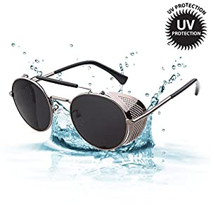 LOMOL Retro Steampunk Rock Metal Frame Personality UV Protection Round Sunglasses For Women&Men(C3)