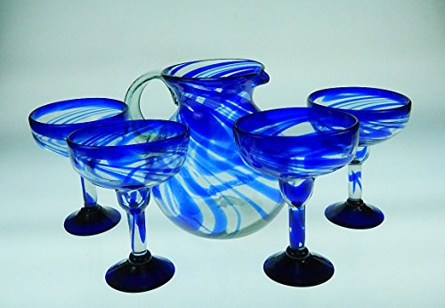 Mexican Margarita Glasses Blue Swirl, Pitcher set, Hand Blown, set of 4 with pitcher