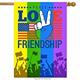 ShineSnow American Flag Love Peace Rainbow House Flag 28″ x 40″ Double Sided, Finger Polyester Welcome Yard Garden Flag Banners for Patio Lawn Home Outdoor Decor For Sale