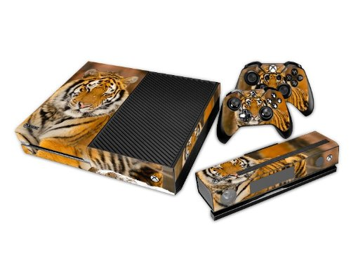 Protective Vinyl Decal Skin/stickers Wrap for Xbox One Console+ 2 Controllers+kinect-Tiger Animal Yellow