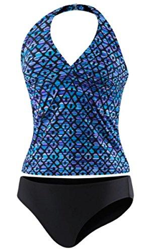 Speedo Womens Halter Top Tankini Swimsuit (14, Blue Diamond (02))