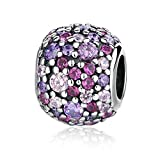 Romántico Amor Cosmic Stars Charms Muti-colored CZ 925 Sterling Silver Bead fit Pandora Bracelets