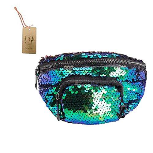 Evalent Unisex Sequin Fanny Pack Double Color Waist Pack Bum Purse Casual Outdoor Sports Waist Bag