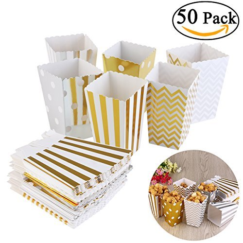 NUOLUX 50pcs Popcorn Boxes,Cardboard Candy Container,Gold and Silver,12x7.5CM -