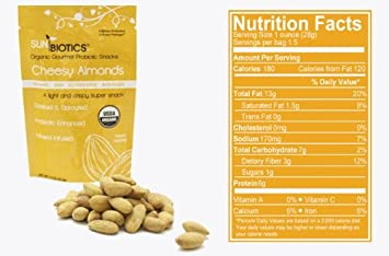 Sunbiotics is a Gourmet Vegan Probiotic Almond Snacks: 12/1 5 oz Pouches of  Cheesy