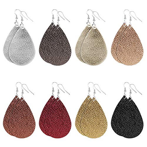 Teardrop Leather Earrings - Lightweight Glitters Faux Leather Leaf Earring with Silver Plated Hypoallergenic Hooks Drop Dangle Earrings for Women Girls -8 Pairs (8 Pairs - Teardrop, Leather)