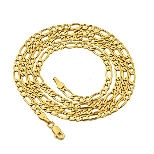 (LoveBling 14K Yellow Gold Figaro Chain Necklace, Available in 2mm to 5mm, 18