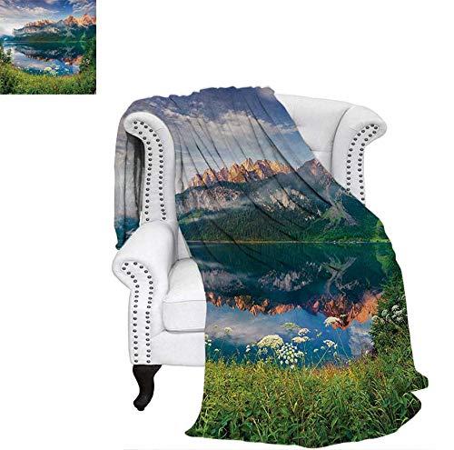 "Throw Blanket Sunny Summer Morning on Lake Austrian Alps Crystal Mirroring Water Fairy Season Velvet Plush Throw Blanket 60""x36"" Multicolor"