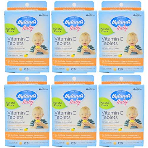 - Hyland's Baby Vitamin C Quick Dissolving Tablets, Natural Lemon 125 ea (Pack of 6)
