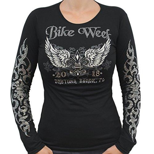 2022 Bike Week Daytona Beach Rhinestone Fleur De Lis Wings Long Sleeve (Rhinestone Fleur De Lis Tee)