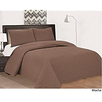 Royal Home Decor 3 Pc Bedspread Set With Medallion Pattern (Queen, Mocha)
