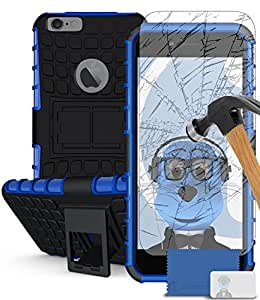 """iTALKonline Apple iPhone 6 / 6S 4.7 inch (4.7"""") Blue Black Tough Hard Shock Proof Rugged Heavy Duty Case Cover with Viewing Stand and Tempered Glass Protective LCD Screen Protector with MicroFibre Polishing Cleaning Cloth and Application Card"""