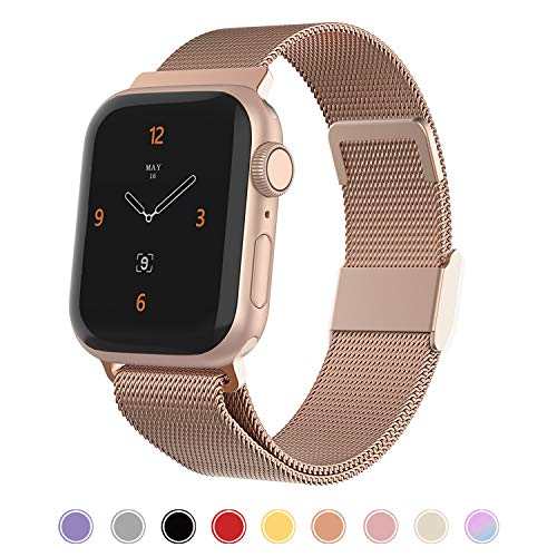 iGK Compatible with Apple Watch 38mm Band 40mm 42mm 44mm,Stainless Steel Mesh Wristbands with Adjustable Magnet Lock for iWatch Series 1/2/3/4/5 Rose Gold Small