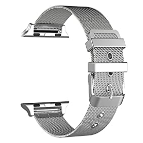 GEOTEL Milanese Loop(2.0 Version) Stainless Steel Bracelet Strap Band for Apple Watch Series 2 Apple Watch Series 1 Apple Watch Sport Apple Watch Edition with Classic Buckle (38MM-SILVER)
