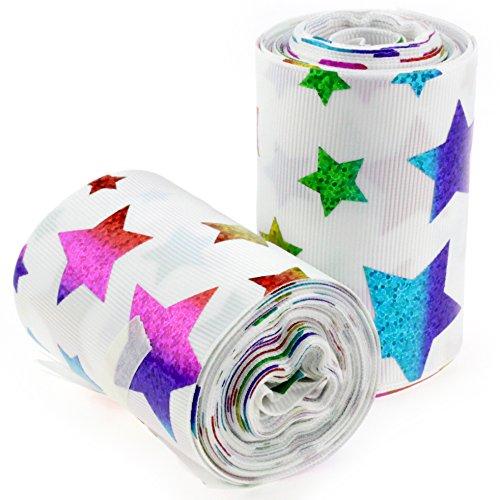 Ribbon Star Grosgrain (Midi Ribbon Holographic Laser Rainbow Large Star Printed Grosgrain Ribbon - 3