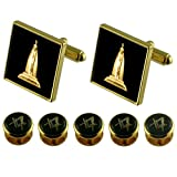 Select Gifts Senior Warden Gold Cufflinks Masonic 5 Shirt Dress Studs Box Set