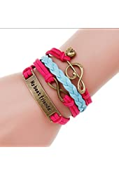 Vintage Multilayer Charm Infinity Love Best Friends Bracelet Wish Wrap Cuff Bracelet